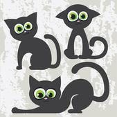 Cartoon black cats — Stock Vector