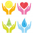 Royalty-Free Stock Vector Image: Symbols of colored human\'s hands