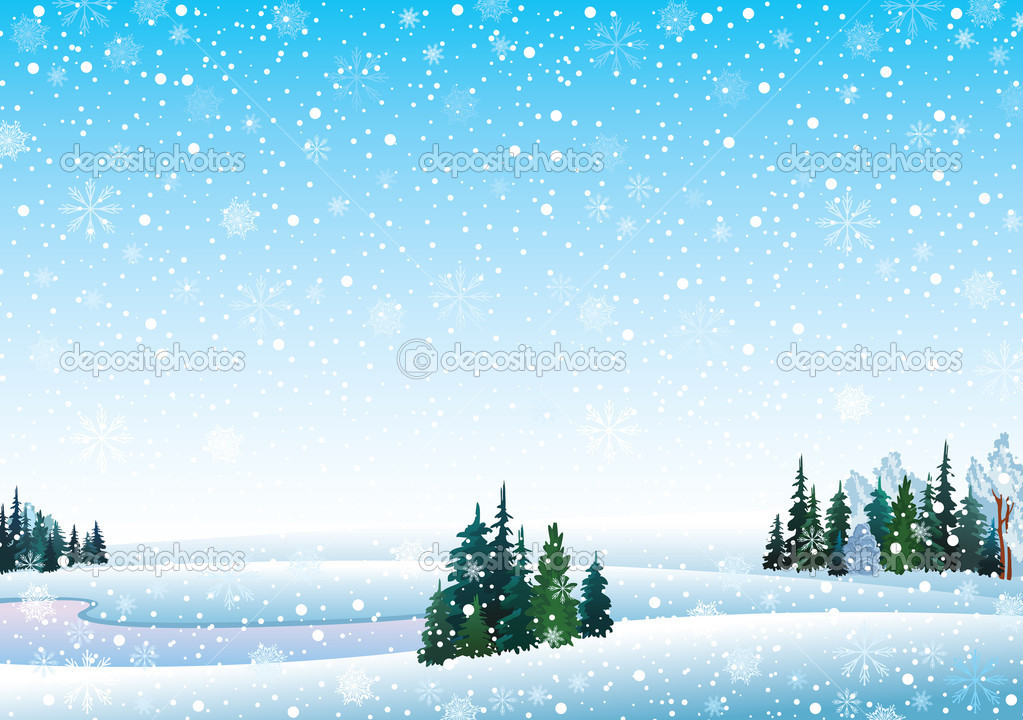 Vector winter landscape with frozen lake, forest and snowfall  Stock Vector #8416967
