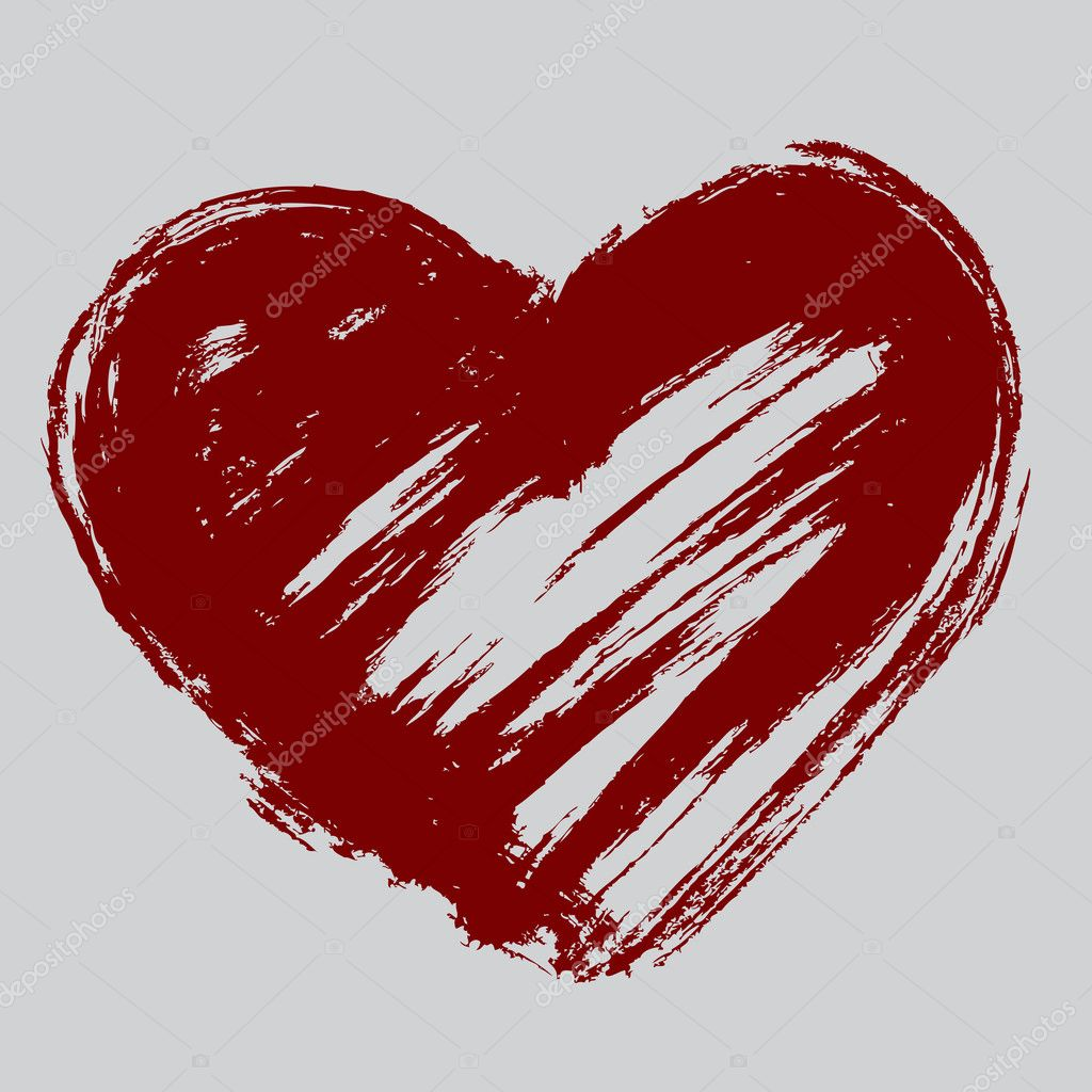 Vector red heart on a gray background — Stock Vector #8417006