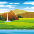 Green landscape with meadow, mountains and woterfall — Stock Vector