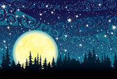 Moon on a night sky bakground — Stock Vector