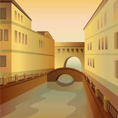 City with a bridge and a river — Stockvector