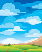 Group clouds on blue sky — Stockvector