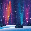Northern lights and winter nature — Imagen vectorial