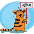 Stock Vector: Cat and fish
