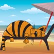Cat and beach — Stock Vector