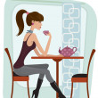 woman in cafe — Stock Vector