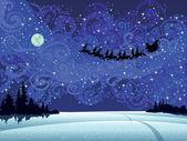 Santa into the christmas sky — Stock Vector
