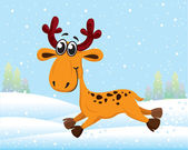 Funny cartoon reindeer running on snow — Stockvector