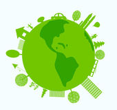 Mondo verde con vita eco-compatibili — Vettoriale Stock
