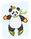 Panda and ice skating — Stock Vector