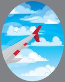 Ala di volo aereo — Vettoriale Stock