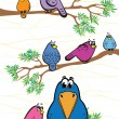 Stock Vector: Funny colored birds
