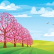 Stock Vector: Pink trees