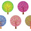 Group colored trees — Stock Vector