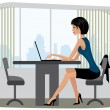 Beautiful yang woman sitting in the office - Stock Vector