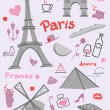 Stock Vector: Symbols of Paris