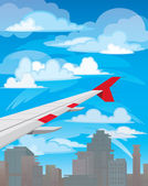 Plane and city — Stock Vector