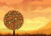 Orange flowering tree — Stock Vector