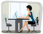 Beautiful yang woman sitting in the office — Stock Vector