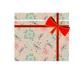 Vector gift box with red bow — Vecteur