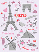Symbols of Paris — Stock Vector