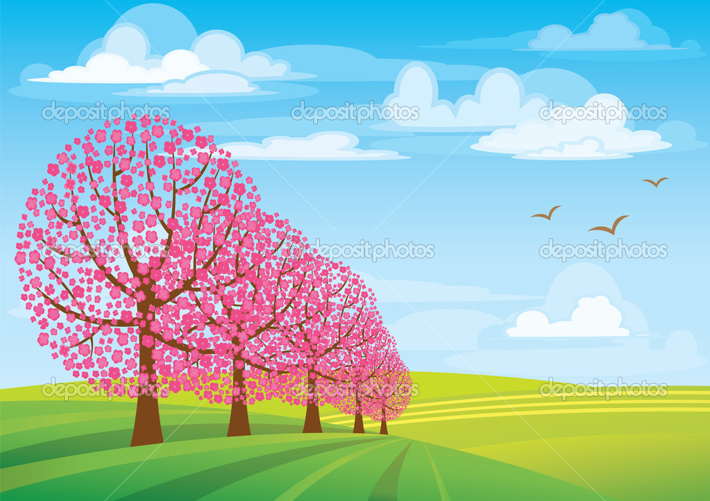 Group of pink trees on blue sky and green meadow  Stock Vector #8545298