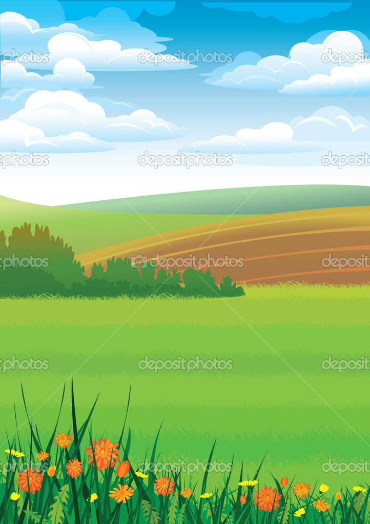 Summer rural landscape with red flowers  — Stock Vector #8545375