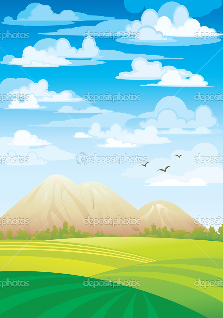 Green meadow and mountains on a blue sky and clouds  Stock Vector #8545376