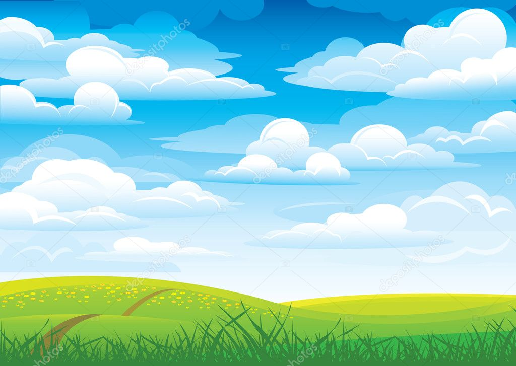 Group clouds on blue sky and green meadow with road and flowers — Stock Vector #8545407