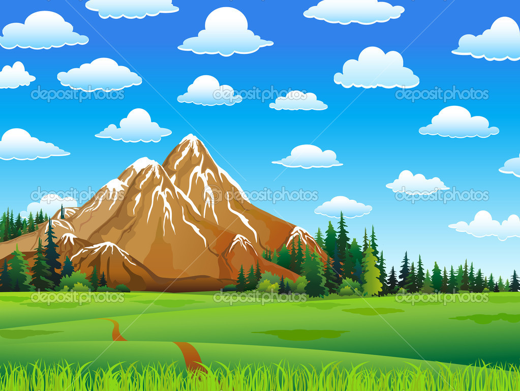 Green landscape with meadow, forest and mountains on a cloudy sky background — Stock Vector #8545494