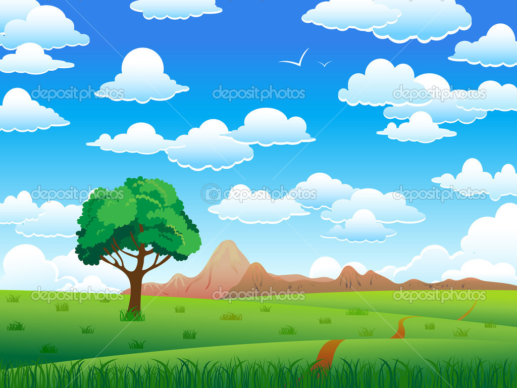 Green landscape with tree, mountains and clouds on a blue sky background — Stock Vector #8545495