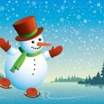 Snowman and skating — Stock Vector
