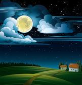 Luna e casa — Vettoriale Stock