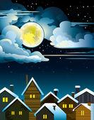 夜の住宅と月 — ストックベクタ