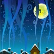 Night houses and moon — Stock Vector