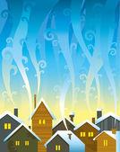 зимние дома — Cтоковый вектор