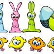 Easter set - chickens, rabbits and eggs — Stock Vector #9633138