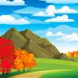 Autumn landscape with road — Stock Vector