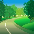 Green landscape with road — Stock Vector