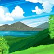 Summer landscape with volcano and lake Batur. Indonesia, Bali. — Stock Vector #9857599
