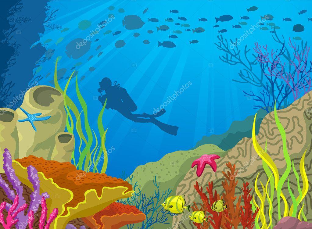 Dibujos Animados Fondo Del Mar Buzo en el Fondo Del Mar