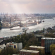 Port on the Elbe, Hamburg - Stock Photo