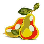Two pears with the leaves — Stock Vector