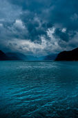 Fjord with dark clouds II — Stock Photo
