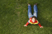 Exercising on the grass — Stock Photo