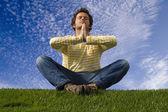 Yoga outdoor — Stock Photo