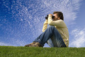 Enjoying and observe the nature — Stock Photo
