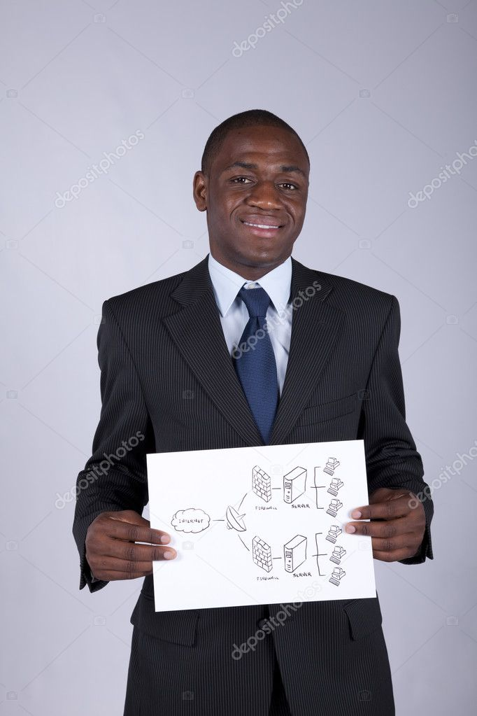 African businessman holding a firewall shema solution — Stock Photo #8290167